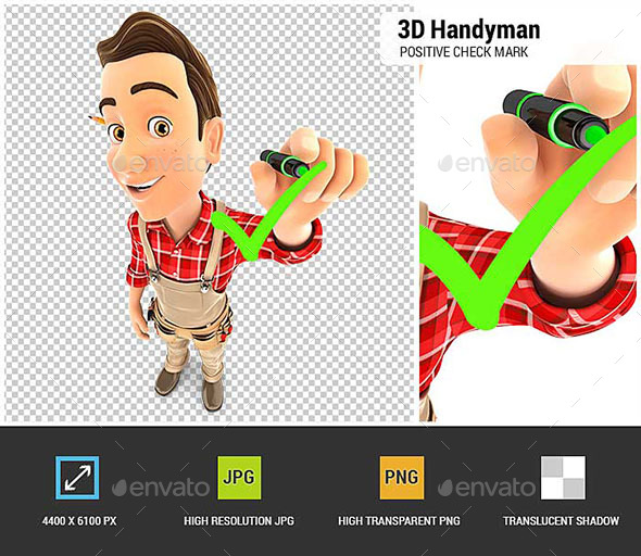 GraphicRiver 3D Handyman Drawing Positive Check Mark 20807163