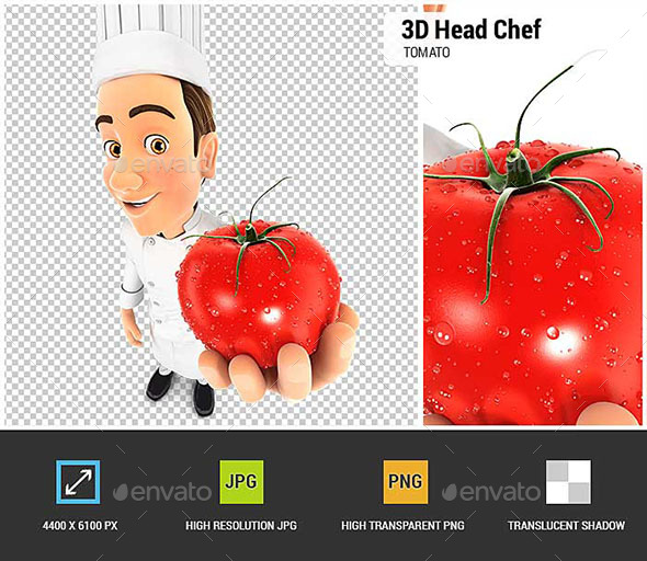 3D Head Chef Holding a Fresh Tomato - Characters 3D Renders