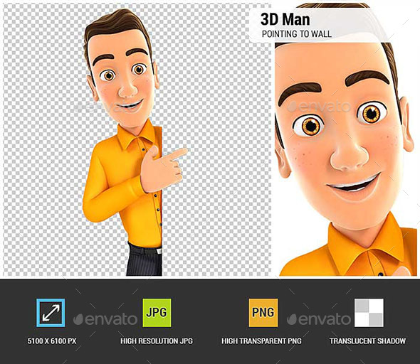 3D Man Pointing to Right Blank Wall - Characters 3D Renders