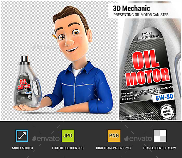 3D Mechanic Presenting Oil Motor Canister - Characters 3D Renders