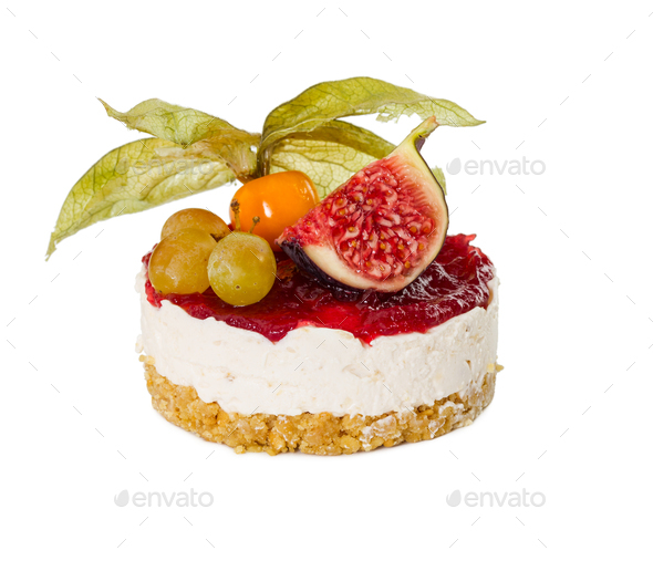 Cheesecake with figs, grapes and physalis - Stock Photo - Images