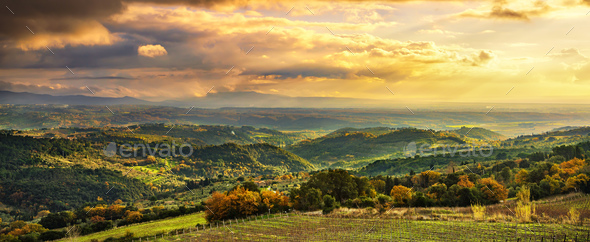 Maremma sunset panorama. Countryside, hills and sea on horizon. - Stock Photo - Images