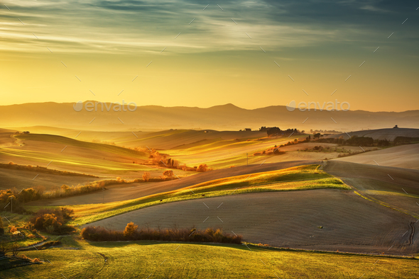 Tuscany countryside misty panorama, rolling hills and green fiel - Stock Photo - Images