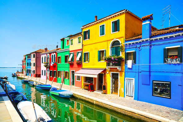 Venice landmark, Burano island canal, colorful houses and boats, - Stock Photo - Images