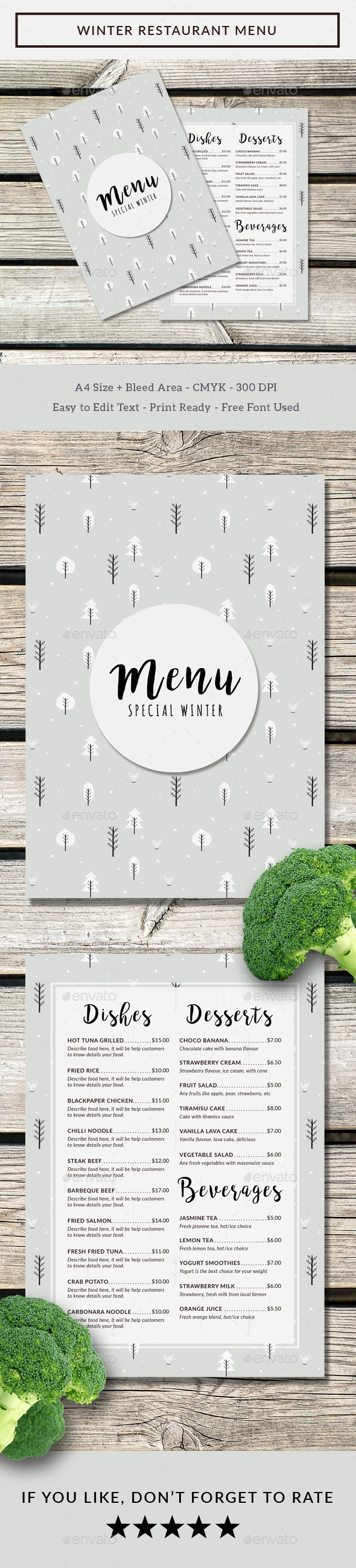 Winter Restaurant Menu - Food Menus Print Templates