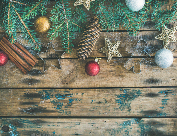 Christmas, New Year holiday flat-lay over wooden background, copy space - Stock Photo - Images