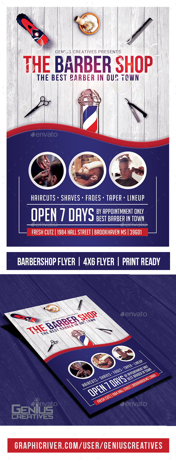 GraphicRiver Barber Shop Flyer Template v3 20807356