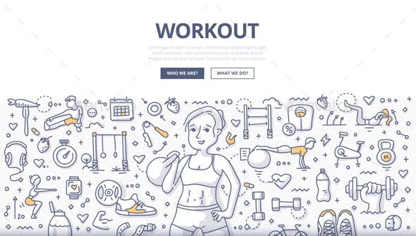 GraphicRiver Workout Doodle Concept 20807366