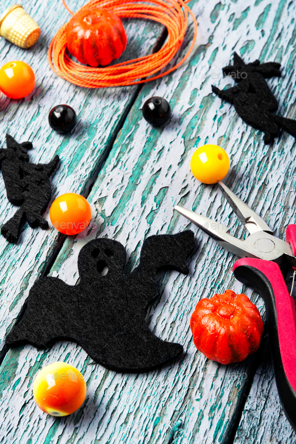 Making jewelery for Halloween - Stock Photo - Images
