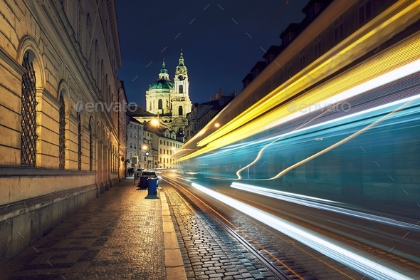 Traffic on the ancient street in Prague - Stock Photo - Images