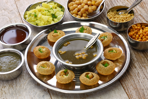 homemade pani puri, golgappa, indian snack - Stock Photo - Images