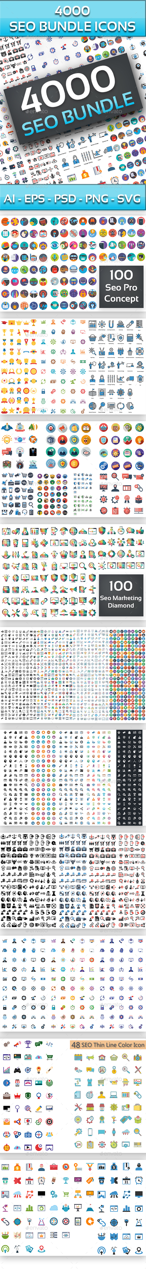 4000 Seo Bundle Icons Icons - Icons