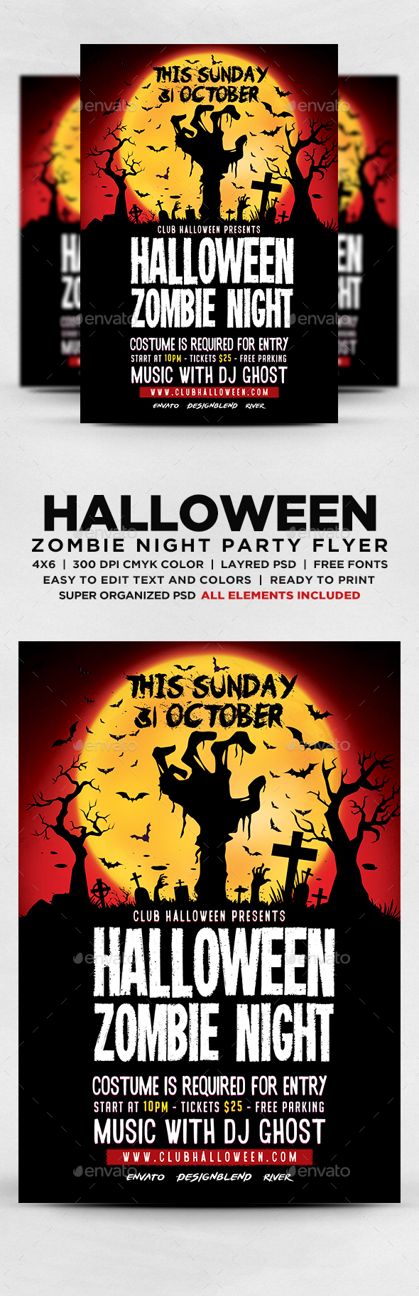 Halloween Zombie Night Flyer - Flyers Print Templates