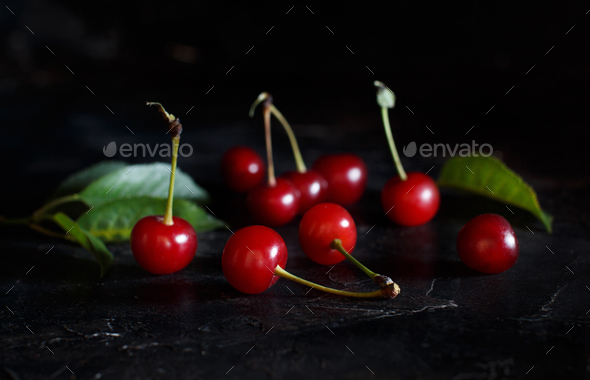 Fresh sour cherries - Stock Photo - Images