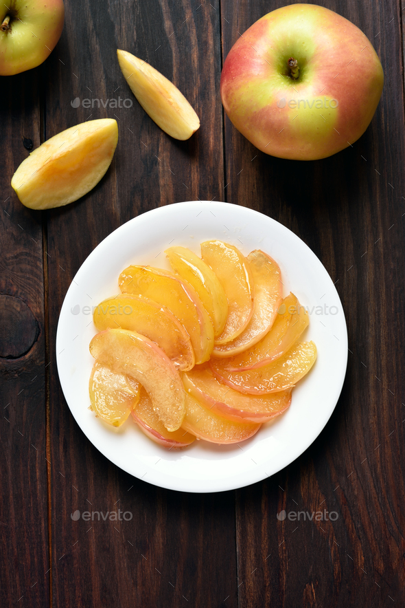 Caramelized apple slices on plate - Stock Photo - Images