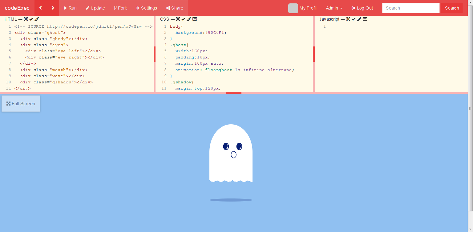 codeExec - Play with HTML, CSS and Javascript