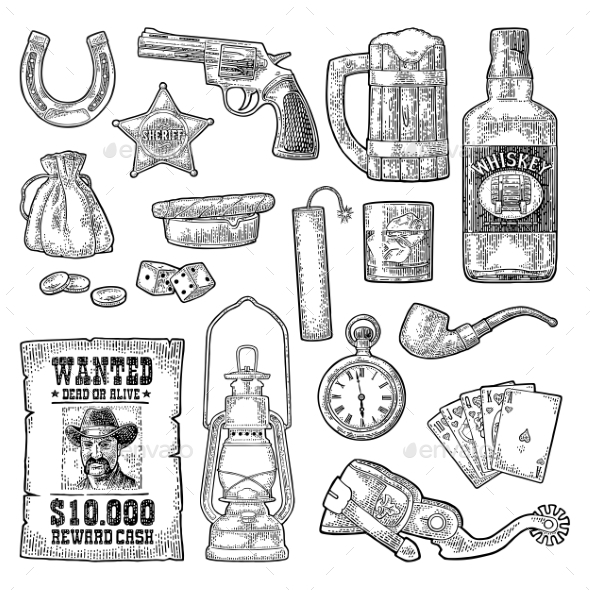 GraphicRiver Set with Wild West and Casino Symbols 20807996