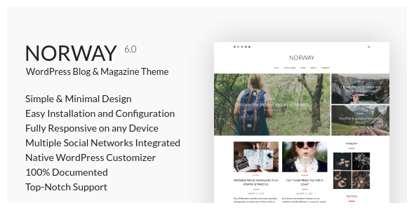 Norway - Responsive WordPress Lifestyle, Travel Blog & Magazine Theme