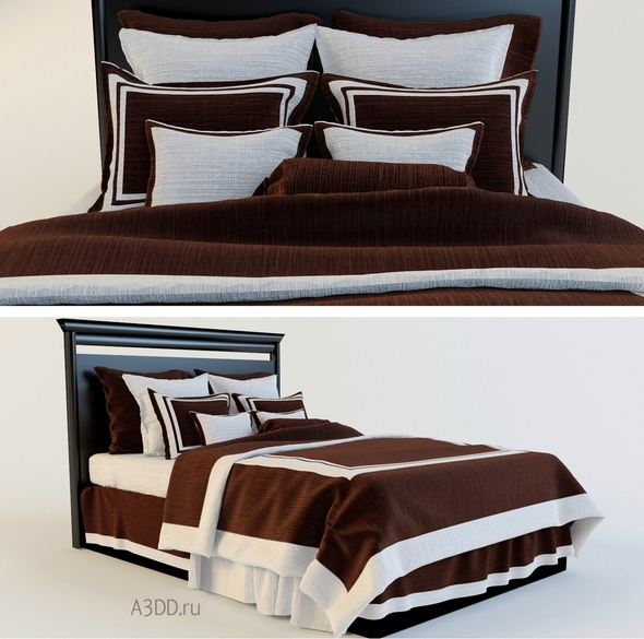 3DOcean Double Bed Bed Linen brown 20808239