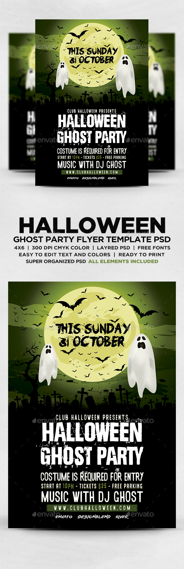 Halloween Ghost Party Flyer - Flyers Print Templates