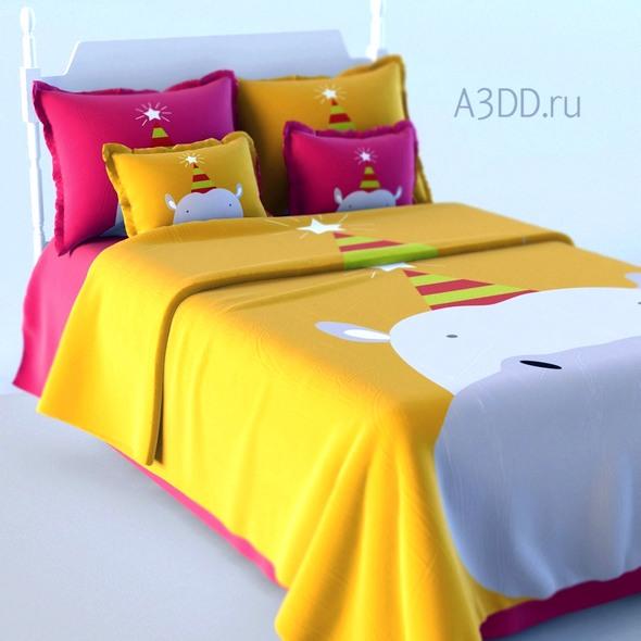 3DOcean Double Bed Bed Linen 20808597