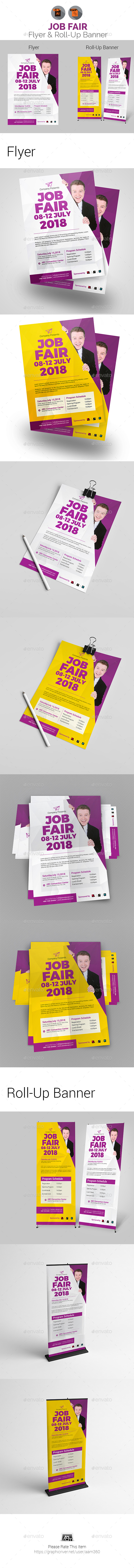 Job/Career Fair Flyer & Roll-Up Banner - Print Templates