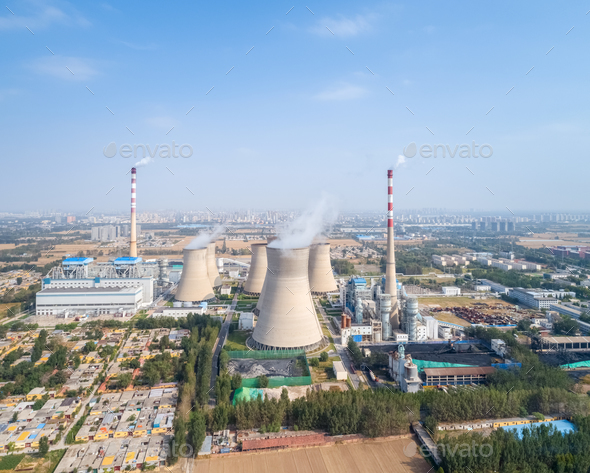 aerial view of thermal power plant - Stock Photo - Images