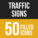 Traffic Signs Filled Low Poly B/G Icons