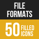 File Formats Filled Low Poly B/G Icons