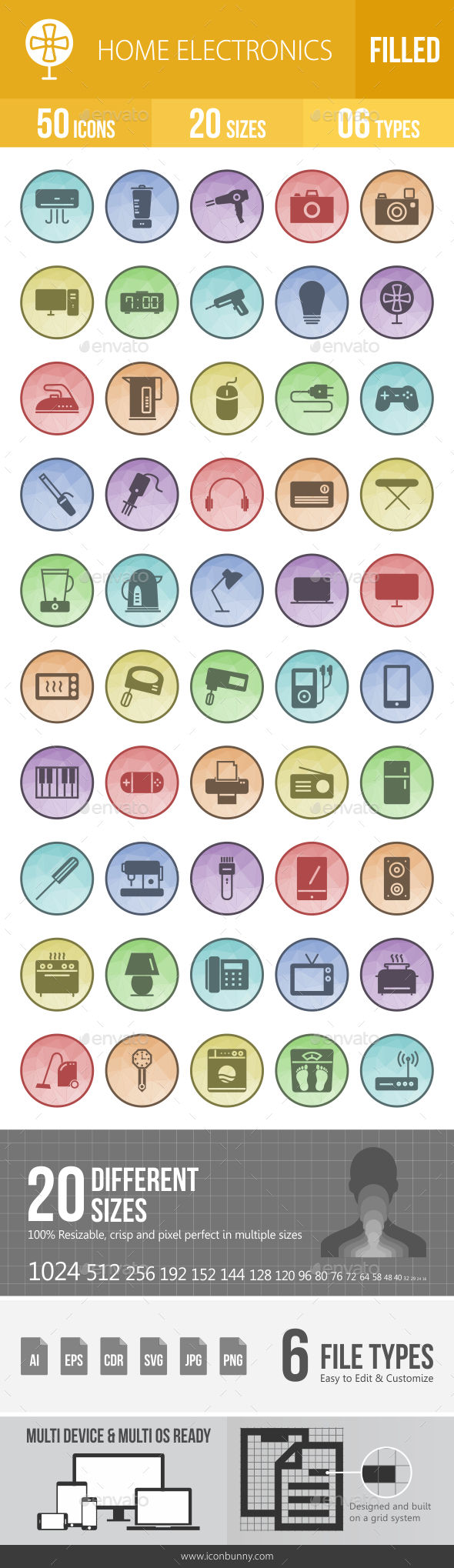 GraphicRiver Home Electronics Filled Low Poly B G Icons 20809144
