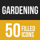 Gardening Filled Low Poly B/G  Icons