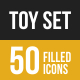 Toys Filled Low Poly B/G Icons