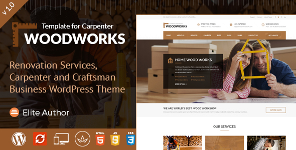 Image of Wood Works - Renovation Services, Carpenter and Craftsman Business WordPress Theme