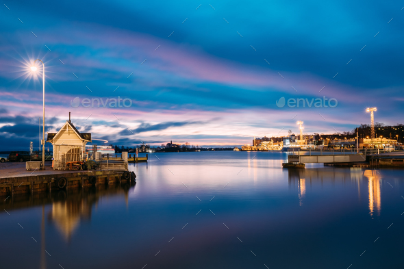Helsinki, Finland. Landscape With City Pier, Jetty At Winter Sun - Stock Photo - Images