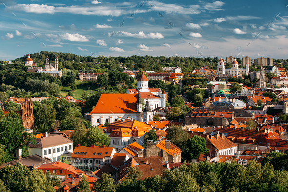 Vilnius, Lithuania. Church Of St Anne, Church Of Ascension, Chur - Stock Photo - Images