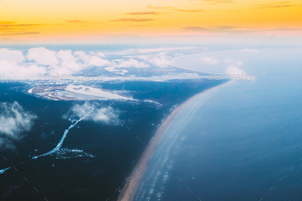 Western Dvina Flows Into Baltic Sea. River Divides Northern And - Stock Photo - Images