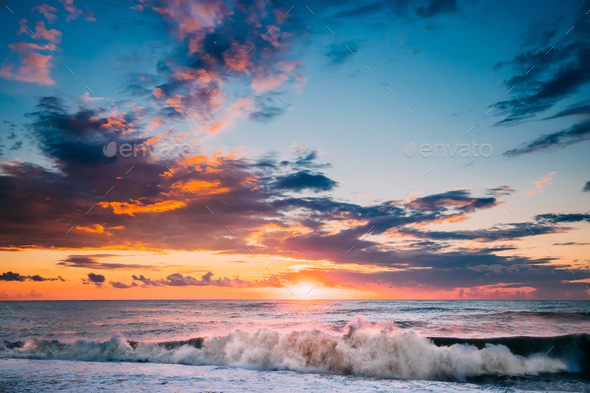 Sun Is Shining Over Horizon At Sunset Or Sunrise. Evening Sea Or - Stock Photo - Images
