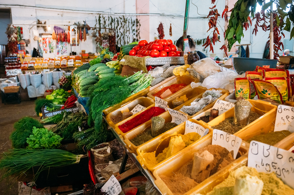 Bazar Abundant Counter Of Fragrant Spices Herbs Fresh Greenery, - Stock Photo - Images