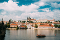 Prague, Czech Republic. Sightseeing Boat Sailing Along Vltava Ri