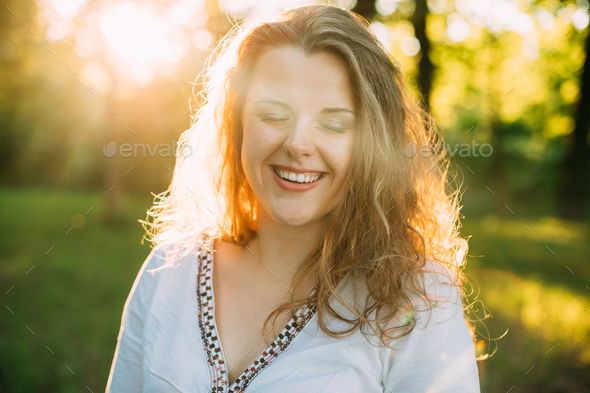 Portrait Of Happy Young Beautiful Pretty Plus Size Caucasian Gir - Stock Photo - Images