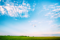 Field Landscape Under Scenic Spring Blue Dramatic Sky With White - PhotoDune Item for Sale