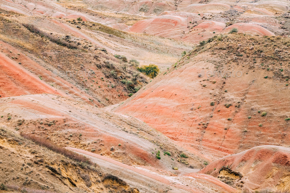 Red Rocks In Gareja Desert, Kakheti Region, Georgia. Autumn Land - Stock Photo - Images