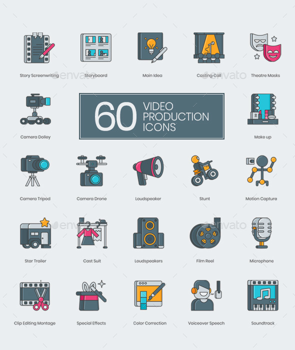GraphicRiver 60 Video Production Icons 20809605