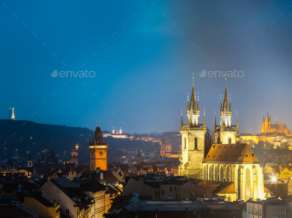 Night cityscape of Prague, Czech Republic. Town hall, Church Of - Stock Photo - Images