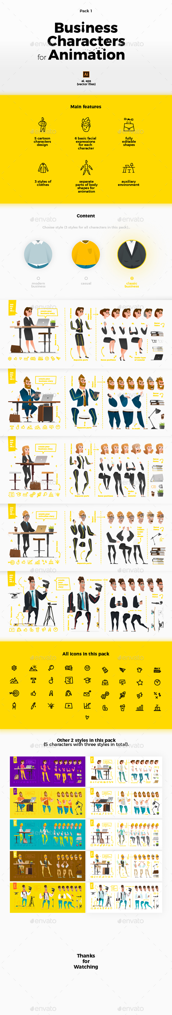 Business Characters Collection for Animation and Motion Design - People Characters