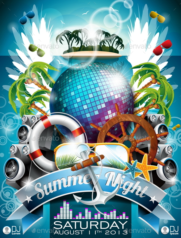 GraphicRiver Vector Summer Beach Party Poster Design 20810062