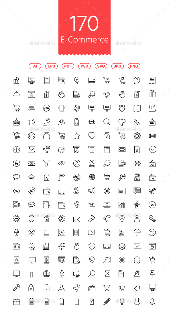 GraphicRiver 170 Shopping and E-commerce Line Icons 20810066