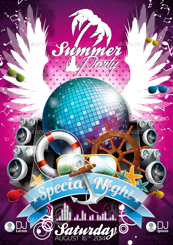 GraphicRiver Vector Summer Beach Party Poster Design with Disco Ball 20810075