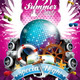 Vector Summer Beach Party Poster Design with Disco Ball