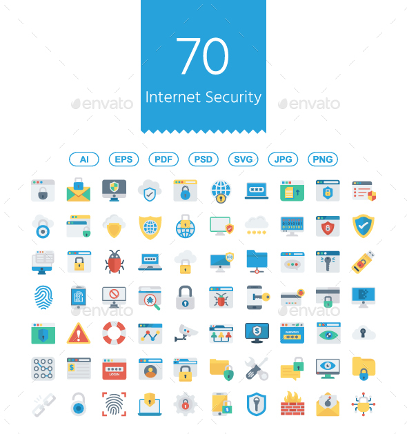 GraphicRiver Internet Security flat icons 20810090